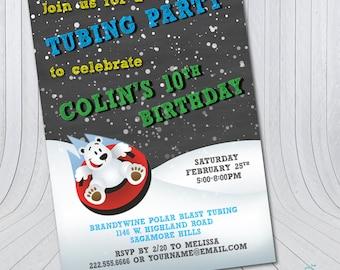 Snow Tubing Birthday Invitation   Tubing Party Birthday {Digital File} Chalkboard