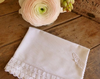 Vintage White Cotton Table Runner with Antique Lace Edging 46x122cm