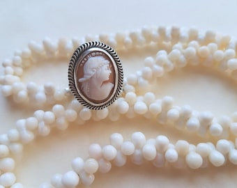 Shell Cameo Ring/ Sterling Silver Ring/ Carved shell cameo/ Victorian style/ Gift for her/ Mother's Day