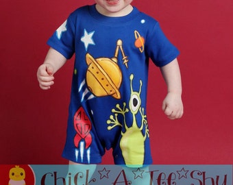 space Romper Shortsleeve spring summer romper PAINTED boys Boutique custom painted newborn 3mth 6mth12mth 18mth 24mth