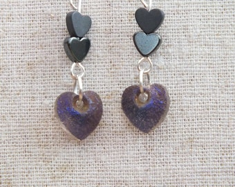 SALE!! Heart earrings, blue earrings, haematite / hematite earrings, love earrings