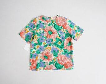 bright floral silk blouse | silk tee | silk floral blouse