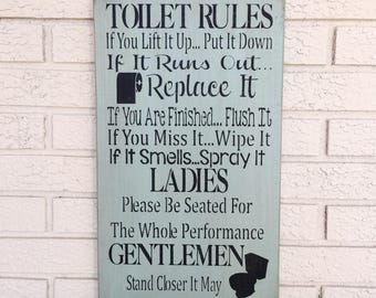 bathroom rules sign etsy. Black Bedroom Furniture Sets. Home Design Ideas