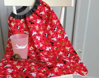 Serviette de table élastique cantine petits chiens , bavoir elastique, serviette cantine elastique, serviette elastique enfant tissu chiens