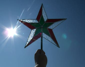 11 Inch Stained Glass Star Christmas Tree Topper For Large Trees, Immediate Shipping