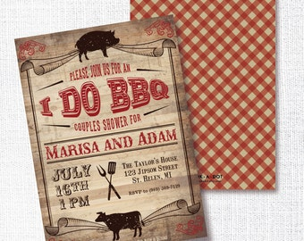 I Do BBQ Shower Invitation, Printable, Couples Shower invite, Wedding shower, Co-Ed shower, Country Chic, Barn, Rustic Wood, Farmhouse