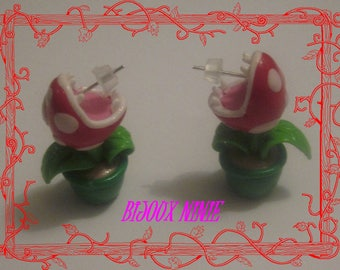 Carnivorous plant from mario in polymer clay earrings