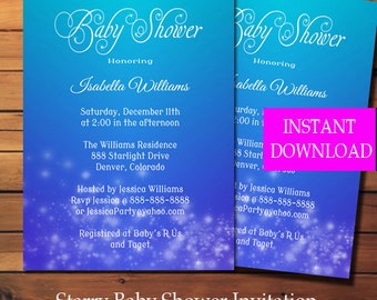 Printable Baby Shower Invitation Template - Stars - Boy - Instant Download - Editable PDF - Baby Shower - Boy Baby Shower -