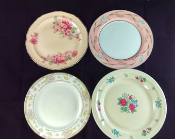 Vintage Mismatched 7 inch Dishes- The Pink Collection