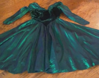 Vintage 1950's Velvet Dark Green Full Skirt Party Dress