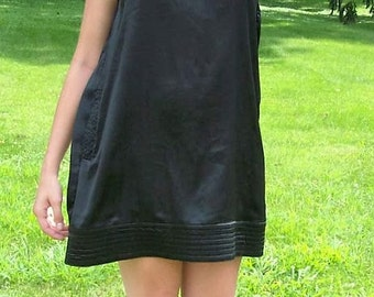 Vintage 90s Ladies Black Satin Mini Dress by Scarlett Small Only 7 USD