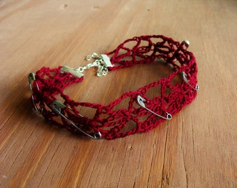 Dark Blood Red Crochet Lace Tattoo Choker With Silver Safety Pins - Hemoglobin From The Quinton West Collection