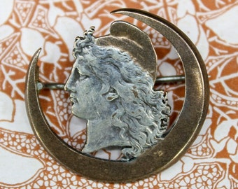 Antique French Victorian Art Nouveau Goddess Athena Crescent Moon Brooch Silver Pin c. 1890-1910