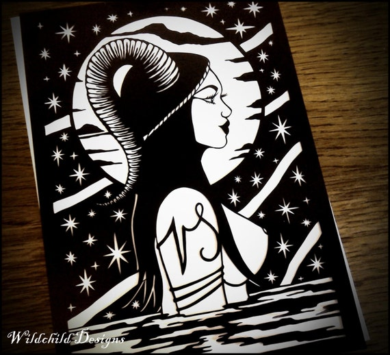 Water goddess papercutting template personal use vinyl