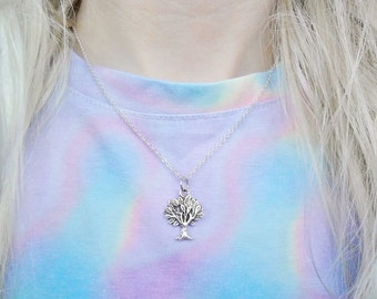 Tree Nature Peace Activist Boho Spiritual Pendant Silver 90s Necklace Jewellery Jewelry