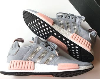 Bling Adidas NMD with Swarovski Crystals Grey Women's Originals NMD_R1 Runner Casual Shoes Bedazzled