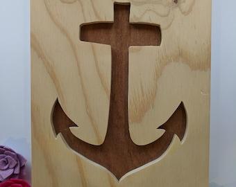 Sale Items - Anchor Cutout Wood Sign Decoration { Clearance, Nautical Theme, Nursery Decor, Home Decor, Woodwork}