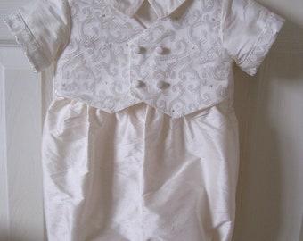 Pure Silk romper with silk brocade mock waistcoat