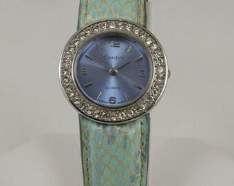 Vintage Caardini Quartz Watch, Women,  Japanese Movement, Spring Type Bracelet Cuff, Stainless Steel, Irridescent blue watch face