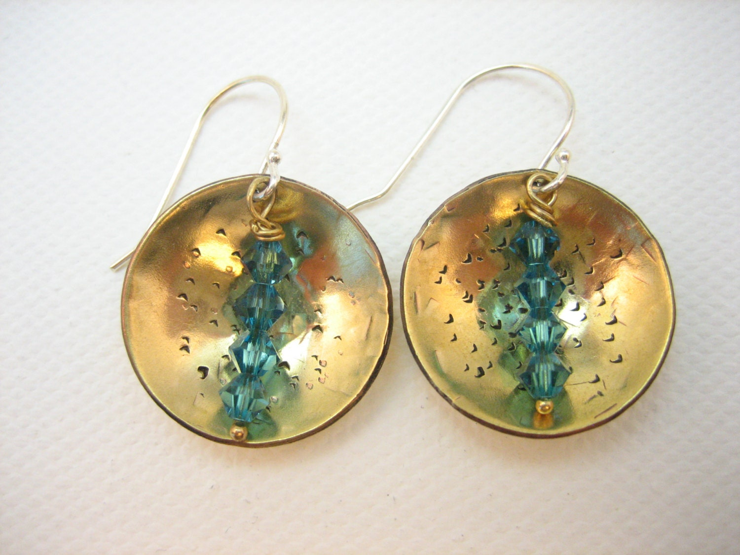 Golden hammered and textured metal earrings with turquoise Swarovski crystals, handmade artisan hammered brass earrings, hammered brass
