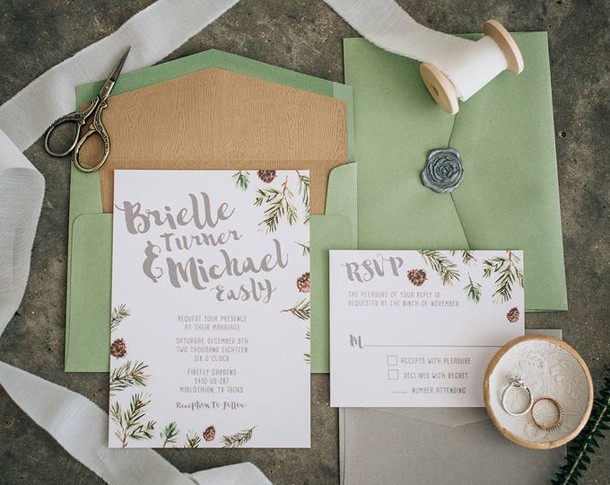 Winter Wonderland Wedding Invitation, with Pine Trees and Pinecones — Includes Wood Texture Envelope Liner and RSVP