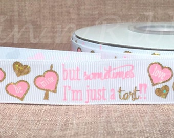Sweetheart Gold Foil on White 7/8 Grosgrain Ribbon With Holographic Gold Foil