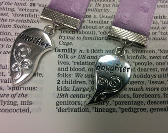 Set of Mother / Daughter Ribbon Bookmarks