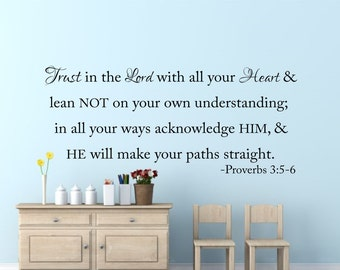 Bible Verse Wall Decal-Proverbs 3-Trust in the Lord-Christian Wall Decal-Scripture Wall Vinyl-Removable Wall Decals-Living Room Wall Art