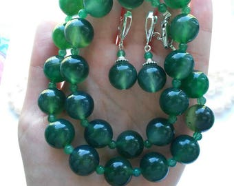 Beads and earrings from agate green