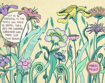 Proust quote friendship flowers art print - recycled paper