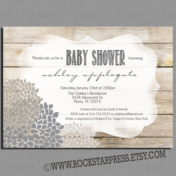 Gender neutral baby shower invitation wood plank peony baby like this item filmwisefo Image collections