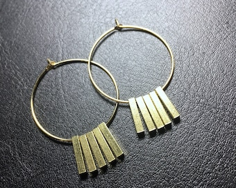 brass hoop (2.6cm) earrings, hoop earrings, tiny bar earrings