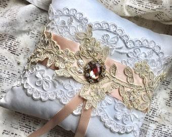 Flower girl basket rose gold, Rose gold ring pillow, Blush ring pillow, Blush flower girl basket and ring bearer pillow, Rustic ring pillow