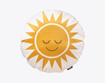 Happy Sun Velvet Cushion in Sunshine Yellow