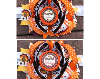Thanksgiving hair bow, turkey hair bow , turkey day hair bow , fall hair bow, 5 inch hair bow, Thanksgiving bow, Turkey bow