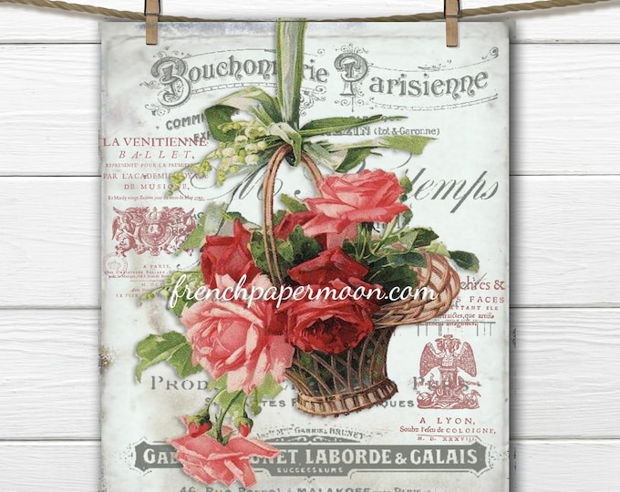 Shabby French Digital Rose basket, Basket of Roses, Fabric Transfer, Scrapbooking Background, French Graphics, Large Image Printable Graphic