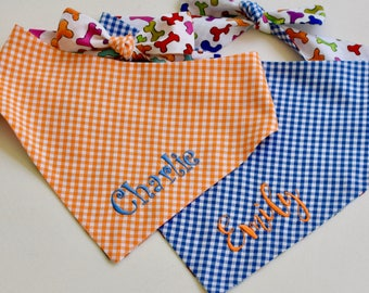Personalized Blue Gingham Bandana | Reversible Dog Bones Pet Scarf | Best Custom Dog Lover Gifts by Three Spoiled Dogs