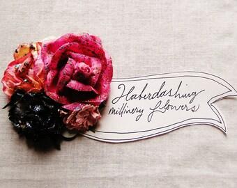 Bon Bon Pink Stardust midnight cream Handmade Roses Vintage style Millinery flower corsage