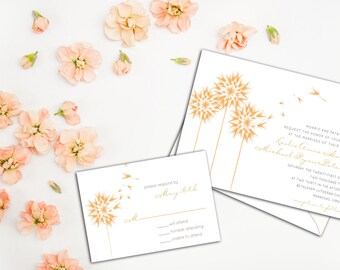 Floating Dandelions Wedding Invitation Set, Floral Wedding, Garden Wedding Invites, Wedding Response cards, Thank you cards, Casual Wedding