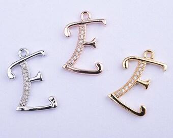 14k gold/rose gold/rhodium micro pave/zirconia initial E charm/pendant, alphabet charm/pendant, 17.5MM*11.5MM
