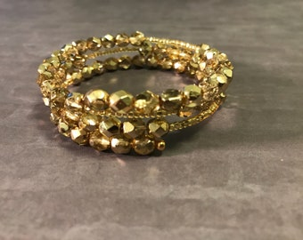 Gold Beaded Czech Fire Polished Memory Wire Bracelet