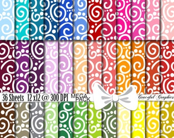 36 Digital Scrapbook Papers 12 x 12 MULTI Color MEGA Pack Scrapbooking Background Papers SWIRLS Dots 1910gg