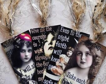HEALING HOPE TAG Set D four vintage collage girls inspirational gift bookmark