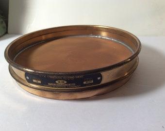 """Vintage Fisher Scientific Brass Sieve - fine grain #200  8"""" round"""