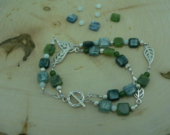 Reiki Healing Bracelet, Blue Kyanite Bracelet, Jade and Amazonite Bracelet, Confidence Bracelet, Balance and Alignment Bracelet