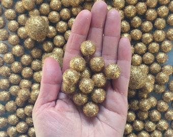 12 Mini 1.5cm Glitter Wool Felt Balls Sparkle decoration for home arts crafts jewelry gold copper silver craft decor fun gift special events