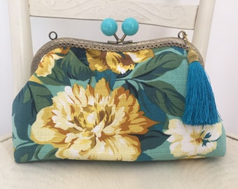 Handmade from vintage inspired turquoise and yellow rose barkcloth  fabric evening bag
