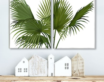 Green wall art - Set 2 prints palms green on white tropical print tropical decor beach house art print contemporary wall art green wall art