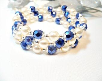 Armband, Memory Wire, blaue Armband, Elfenbein Armband, blau und Creme Braelet, Manschette