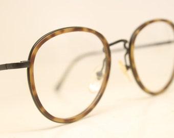 Vintage EyeGlass Frames Black Tortoise  Combination Retro  1980's vintage eyewear NOS Deadstock Glasses